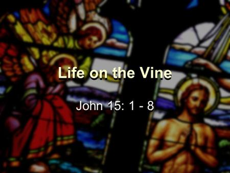 Life on the Vine John 15: 1 - 8. Life on the Vine What is the Aim of Christian Life?  Being godly examples  Using our gifts  Making disciples  Bringing.