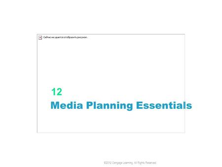 Media Planning Essentials 12 ©2012 Cengage Learning. All Rights Reserved.