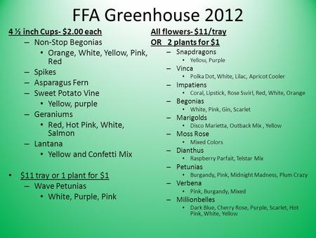 FFA Greenhouse 2012 4 ½ inch Cups- $2.00 each – Non-Stop Begonias Orange, White, Yellow, Pink, Red – Spikes – Asparagus Fern – Sweet Potato Vine Yellow,