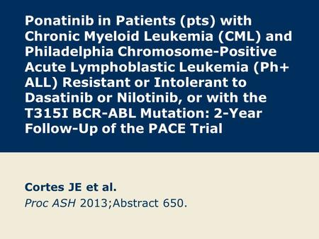 Ponatinib in Patients (pts) with Chronic Myeloid Leukemia (CML) and Philadelphia Chromosome-Positive Acute Lymphoblastic Leukemia (Ph+ ALL) Resistant or.