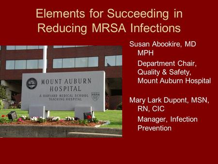 Elements for Succeeding in Reducing MRSA Infections Susan Abookire, MD MPH Department Chair, Quality & Safety, Mount Auburn Hospital Mary Lark Dupont,