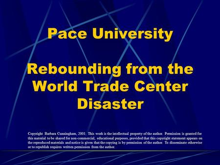 Pace University Rebounding from the World Trade Center Disaster Copyright Barbara Cunningham, 2001. This work is the intellectual property of the author.