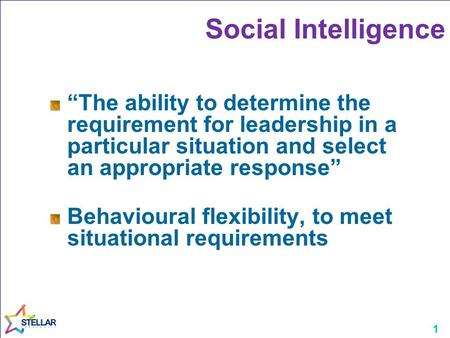 "1 Social Intelligence ""The ability to determine the requirement for leadership in a particular situation and select an appropriate response"" Behavioural."