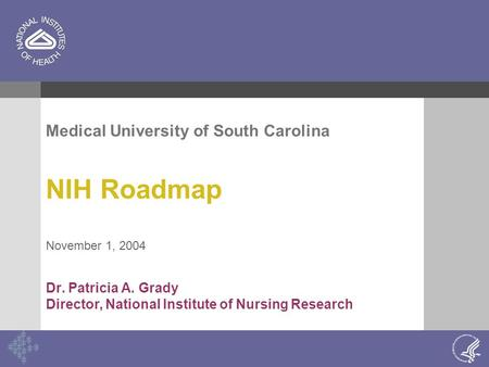 Medical University of South Carolina NIH Roadmap November 1, 2004 Dr. Patricia A. Grady Director, National Institute of Nursing Research.