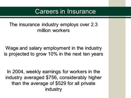 Careers in Insurance The insurance industry employs over 2.3 million workers Wage and salary employment in the industry is projected to grow 10% in the.