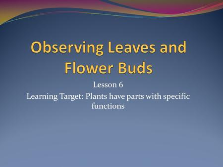 Lesson 6 Learning Target: Plants have parts with specific functions.