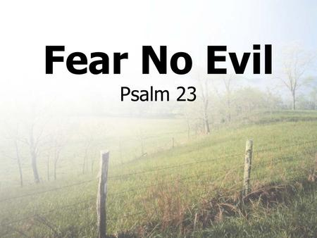 Fear No Evil Psalm 23. Nothing to Fear? war falling markets terrorism Job loss homelessness Loss of family, friends loneliness Insignificance Loss of.