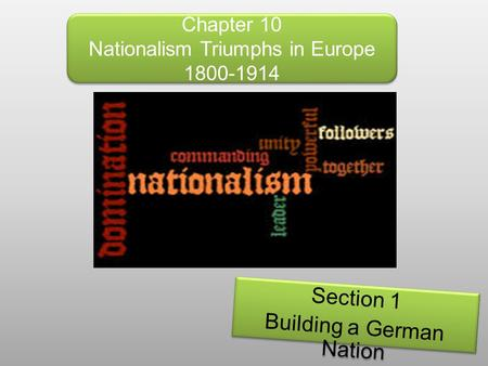 Chapter 10 Nationalism Triumphs in Europe