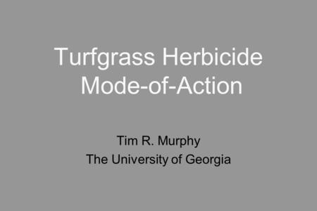 Turfgrass Herbicide Mode-of-Action Tim R. Murphy The University of Georgia.