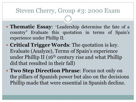 "unit great britain in th and th century contents the th  steven cherry group 3 2000 exam thematic essay "" leadership determine the"