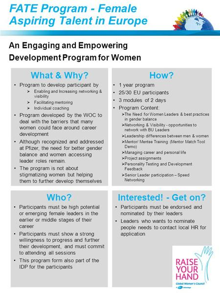 FATE Program - Female Aspiring Talent in Europe An Engaging and Empowering Development Program for Women What & Why? Program to develop participant by.