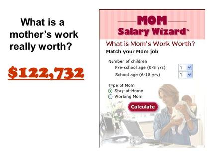 What is a mother's work really worth? $122,732. FEMININE Having the qualities of a woman; becoming or appropriate to the female sex; such as, modest,