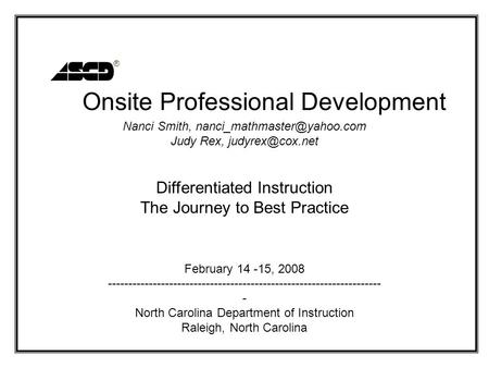 Onsite Professional Development