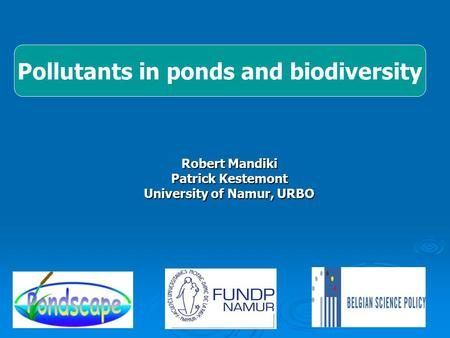 Pollutants in ponds and biodiversity Robert Mandiki Patrick Kestemont University of Namur, URBO.