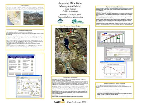 Antamina Mine Water Management Model Alan Keizur Golder Associates Roberto Manrique Arce Compañia Minera Antamina User Conference 2006 Background The Antamina.