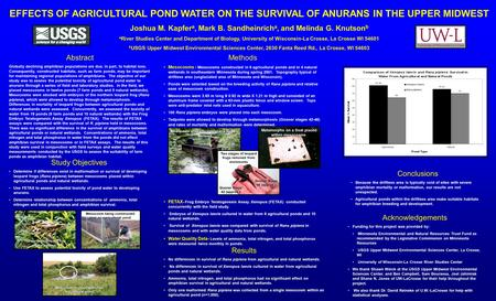 EFFECTS OF AGRICULTURAL POND WATER ON THE SURVIVAL OF ANURANS IN THE UPPER MIDWEST Joshua M. Kapfer a, Mark B. Sandheinrich a, and Melinda G. Knutson b.
