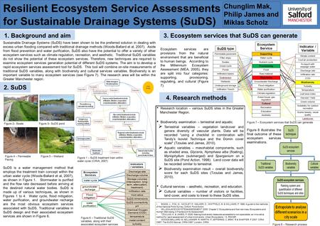 Resilient Ecosystem Service Assessments for Sustainable Drainage Systems (SuDS) 1. Background and aim Sustainable Drainage Systems (SuDS) have been shown.