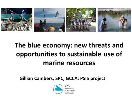 The blue economy: new threats and opportunities to sustainable use of marine resources Gillian Cambers, SPC, GCCA: PSIS project.