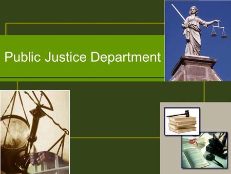 Public Justice Department. What is Public Justice? Multidisciplinary liberal arts program with special emphasis in the social and behavioral sciences.