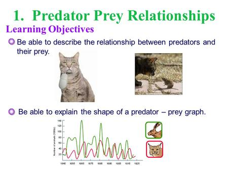 1. Predator Prey Relationships Be able to describe the relationship between predators and their prey. Be able to explain the shape of a predator – prey.