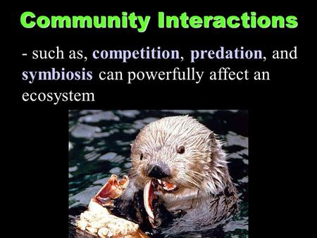 Community Interactions - such as, competition, predation, and symbiosis can powerfully affect an ecosystem.