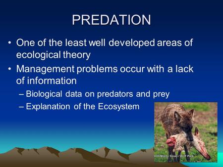 PREDATION One of the least well developed areas of ecological theory Management problems occur with a lack of information –Biological data on predators.