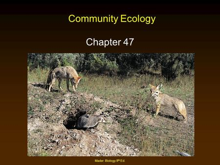 Community Ecology Chapter 47 Mader: Biology 8th Ed.
