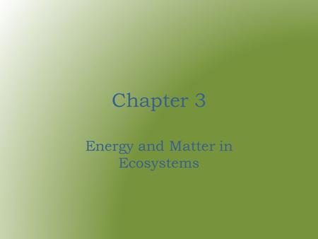 Chapter 3 Energy and Matter in Ecosystems. adaptation – an inherited trait or characteristic that helps an organism survive.