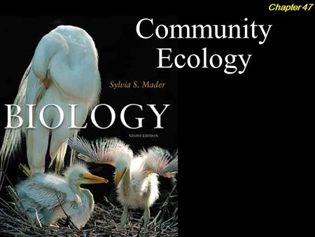 Community Ecology Chapter 47. Community Ecology 2Outline The Concept of the Community  Diversity and Composition Models The Structure of Communities.