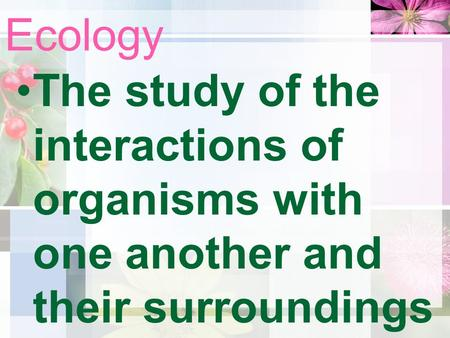 Ecology The study of the interactions of organisms with one another and their surroundings.