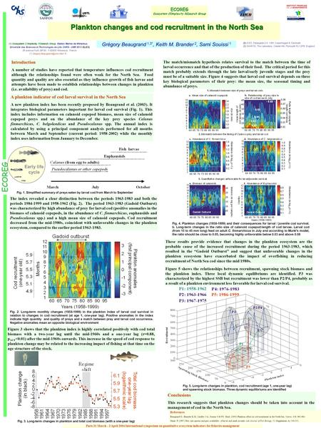 Plankton changes and cod recruitment in the North Sea Plankton changes and cod recruitment in the North Sea Grégory Beaugrand 1,3*, Keith M. Brander 2,