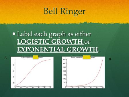 Bell Ringer Label each graph as either LOGISTIC GROWTH or EXPONENTIAL GROWTH. Label each graph as either LOGISTIC GROWTH or EXPONENTIAL GROWTH. A B.