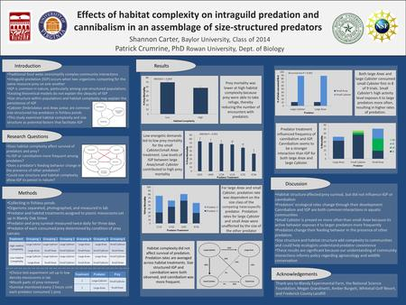 Effects of habitat complexity on intraguild predation and cannibalism in an assemblage of size-structured predators Shannon Carter, Baylor University,