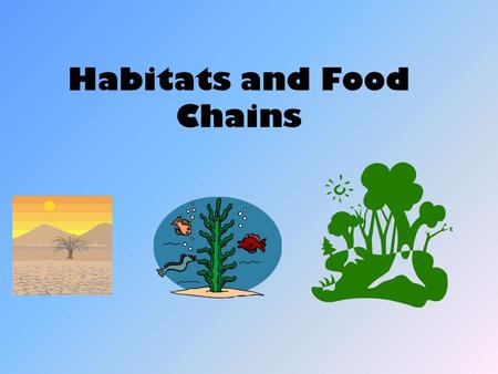 Habitats and Food Chains. Homes and Habitats The place where an animal lives is called its habitat. An animal lives where it can find food, water, shelter.