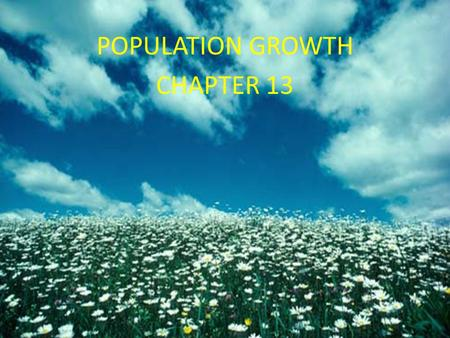 Chapter 13 Population Growth POPULATION GROWTH CHAPTER 13.