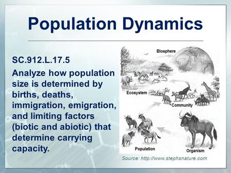 Population Dynamics SC.912.L.17.5 Analyze how population size is determined by births, deaths, immigration, emigration, and limiting factors (biotic and.