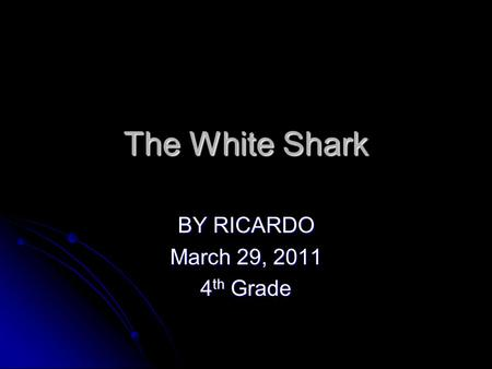 The White Shark BY RICARDO March 29, 2011 4 th Grade.