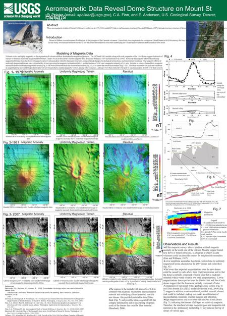 Aeromagnetic Data Reveal Dome Structure on Mount St Helens S. Polster (  C.A. Finn, and E. Anderson, U.S. Geological Survey, Denver,