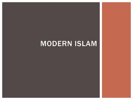MODERN ISLAM ADHAN Close your eyes!  Who is Mohammad?  What is the Quran?  What are people called that practice Islam?  What are the two divisions?