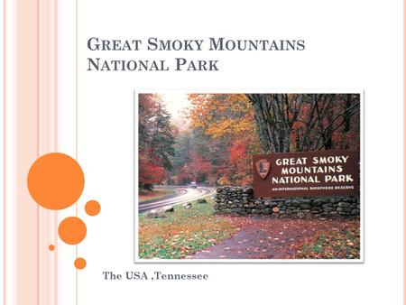 G REAT S MOKY M OUNTAINS N ATIONAL P ARK The USA,Tennessee.