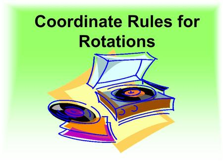 Coordinate Rules for Rotations. 43210 In addition to 3, I am able to go above and beyond by applying what I know about coordinate rules for performing.