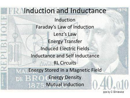 Induction and Inductance Induction Faraday's Law of Induction Lenz's Law Energy Transfer Induced Electric Fields Inductance and Self Inductance RL Circuits.