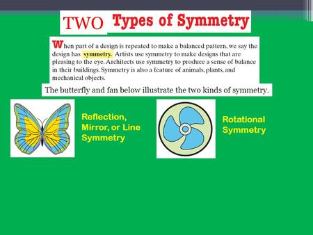 Reflection, Mirror, or Line Symmetry Rotational Symmetry TWO The butterfly and fan below illustrate the two kinds of symmetry.