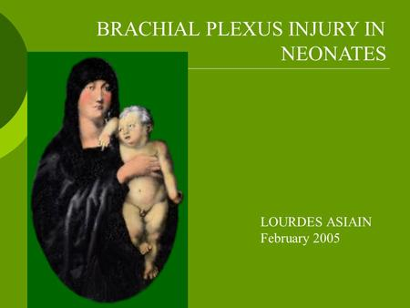 BRACHIAL PLEXUS INJURY IN NEONATES LOURDES ASIAIN February 2005.