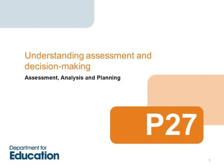 Assessment, Analysis and Planning Understanding assessment and decision-making P27 1.