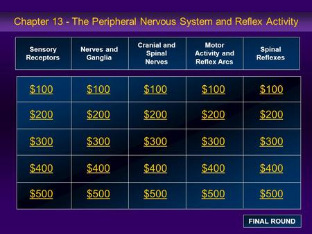 Chapter 13 - The Peripheral Nervous System and Reflex Activity $100 $200 $300 $400 $500 $100$100$100 $200 $300 $400 $500 Sensory Receptors Nerves and Ganglia.