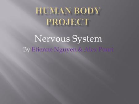 Nervous System By Etienne Nguyen & Alex Pouri.  The nervous system transmit neurons to different parts of the body are divided into two different parts: