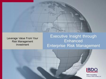 Executive Insight through Enhanced Enterprise Risk Management Leverage Value From Your Risk Management Investment.