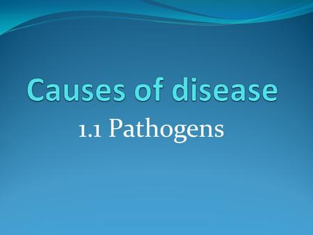 1.1 Pathogens. Starter What is health? A state of complete physical, mental and social well- being. What is disease? A description of symptoms which suggest.