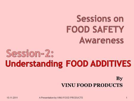 By VINU FOOD PRODUCTS 15-11-20111A Presentation by VINU FOOD PRODUCTS.